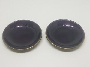 David Andersen Norway 925s Sterling Silver Purple Enamel Salt Dishes 2