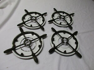 Antique Vintage Set Of 4 Cast Iron Gas Stove Burner Grate Porcelain Drip Pan Set