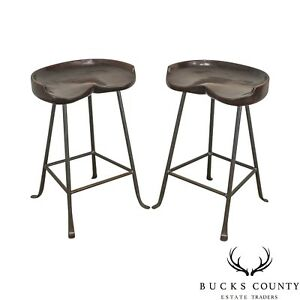 Custom Quality Solid Wood Seat Pair Of Iron Backless Bar Stools