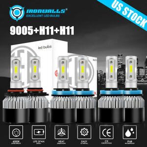 6x Ironwalls 9005 H11 H11 Led Headlights High Low Beam Fog Light Bulbs Kit 6000k