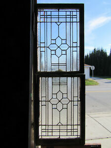 Antique Stained Glass Windows Bevels Double Hung Set Architectural Salvage