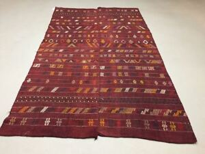 Antique Turkish Moroccan Kilim Rug Shabby Vintage Old Wool Kelim 210x129cm Large
