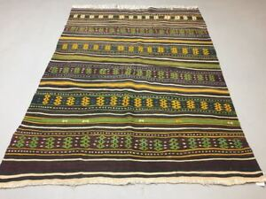 Antique Turkish Kilim Rug Shabby Vintage Old Wool Boho Kelim 203x141cm Large