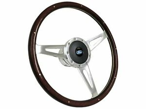 1968 1991 Ford S9 Espresso Stained Wood Steering Wheel Kit Ford Blue Oval