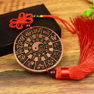 Chinese Zodiac Prayer Wheel Statue Wood 3d Hand Carving Wooden Pendant Key Chain