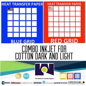 Inkjet T shirt Heat Transfer Paper Combo 200 Sh Each Dark Red Grid 8 5x11