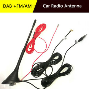 Dab Fm Am Car Radio Antenna Aerial With Amplifier Roof Mount 5m Cable 12v Dc