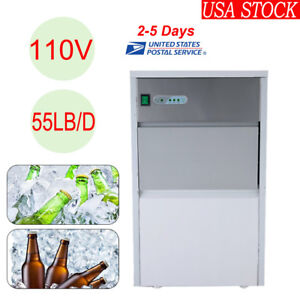 Under Counter Ice Maker Stainless Steel Ice Cube Refrigerator Machine 110v 55lb