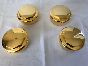 Set Of 4 Gold Hex Spinners Knock Off For Wire Wheel Lowriders
