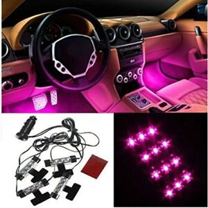New 4x3 Pink Led Light Car Suv Interior Charge Atmosphere Floor Decor Neon Lamp
