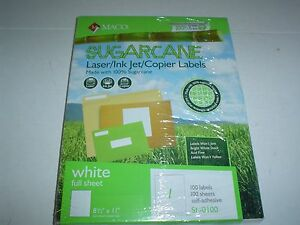 Maco Sugarcane 400 Full Page White Laser ink Jet copier Shipping Labels U s a