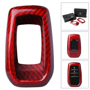 1x Auto Remote Key Cover Case Red Carbon Fiber For Toyota Alphard Rav4 Hilux
