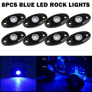 8x Cree 9w Blue Led Rock Light Under Glow Wheel Rv Offroad For Jeep Boat Truck