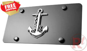 3d Anchor Chrome Emblem Stainless Steel License Plate With Matching Screw Covers