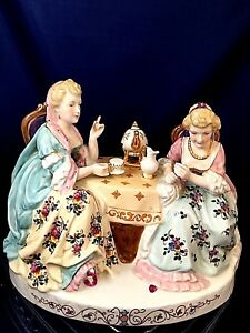 Porcelain Miniature Tea Time Group Of 2 Female Volkstedt Rudolstadt Late 19th