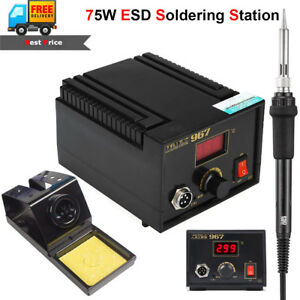 75w Esd Digital Soldering Station Electric Rework Iron Lcd Lead free Desoldering