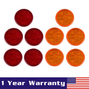 5 Amber 5 Red 2 5 Round 13led Truck Trailer Lamp Side Marker Clearance Light