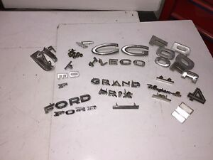 Vintage Miscellaneous Car Emblems Decals Lot Ford Pontiac Ect