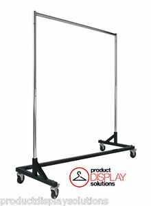 5ft Z Rack Commercial Grade Display Storage Clothing Rack Black Base