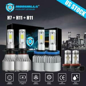 6x H7 h11 h11 Combo Cob Led Headlight Bulbs Hi Low Fog For Ford Fusion 2006 2018