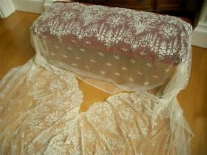 Huge 215 Handmade Antique Vtg Brussels Applique Lace Wedding Veil Flounce Skirt