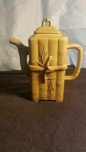Chinese Zhisha Yixing Clay Teapot Late 19th Century Signed Rare Square Bamboo