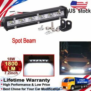 7inch 18w Spot Slim Led Work Light Bar Single Row Offroad Lamp Driving For Suv