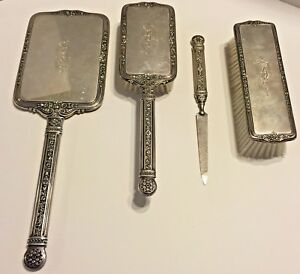Antique Sterling Silver 4pc Vanity Set Mirror Brushes Nail File Ornate Monogram