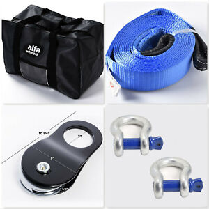 20ft 10t 4wd Suv Truck Winch Recovery Kit Snatch Block Bow Shackle Tow Strap Bag