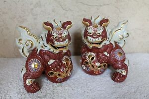 Pair Of Japanese Kutani Taisho Foo Dogs Lucky Wealthy Figurine
