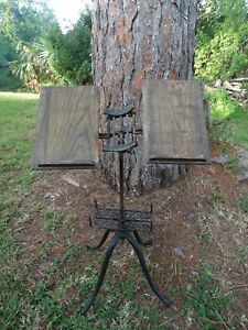 Antique 1895 Victorian Folding Bible Dictionary Stand Oak Iron Steampunk