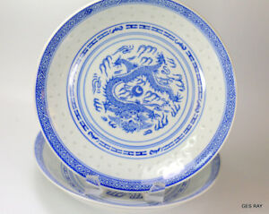 Beautiful Large Chinese Blue White Translucent Dragon Plate Marked Rice Patter