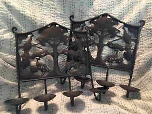 Pair Of Primitive Cut Tree Of Life Peacock Wall Sconce Sheet Metal Folk Art