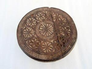 Antique Wood Hand Carved Indian Kitchen Chapati Bread Rolling Plate With Carving