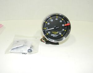 Autometer Chrome Tachometer Auto Gage 8000 Rpm 3 3 4 P N 2301 Mint Condition