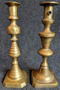 Two Ten Inches Tall Antique Brass Pushup Candlesticks Collectibles