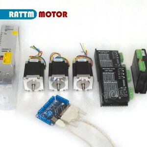 3 Axis Nema23 76mm Stepper Motor 270oz in cw5045 Driver 4 5a Cnc Controller Kit