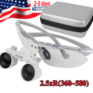 Usa Dental Medical Binocular Loupes Magnifying Glass 2 5x R 360 580mm Loupe case
