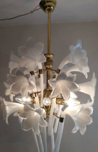 Murano Hand Blow Glass Calla Lily Vintage Brass Antique Light Chandelier