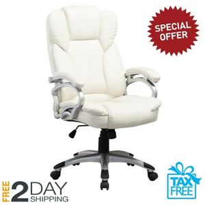 Executive Office Home Chair Computer Desk Lumbar Seat Swivels White Leatherette