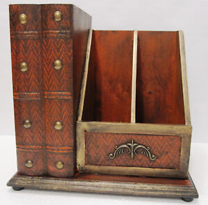 Vintage Look Solid Wood Antique Style Desktop Mail file desk Organizer