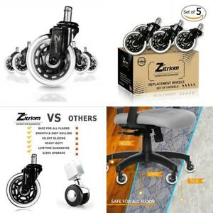 Zitriom Office Chair Caster Wheels For All Floors Set Of 5 Silicone Replacemen
