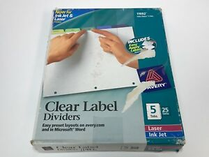 Avery Index Maker Clear Label Dividers 5 Tabs Multi color Tabs 25 Sets 11992