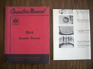 Ih Farmall Mccormick International Td9 Crawler Owners Manual