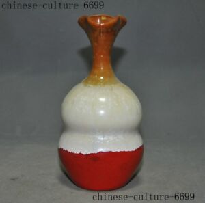 Rare Chinese Dynasty Jun Kiln Old Porcelain Carving Bottle Pot Vase Jar Statue