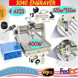 4 Axis Cnc 3040 Router Engraver Engraving Milling Machine Mill Drill Cutter 400w