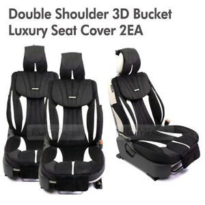 3d Bucket Double Shoulder Ultra Suede Luxury Seat Cover Black 2ea For All Car
