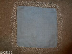 Vintage Crochet Trim Hankerchief 14x14 With 2 Inches Around Blue Linen Beige