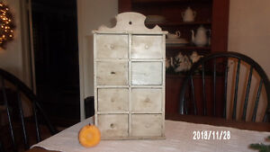 Antique Primitive Large White Spice Chest Cabinet Apothecary Aafa Old Paint
