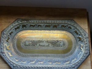 Stunning Middle Eastern Hand Made Brass Tray Origin And Age Uncertain